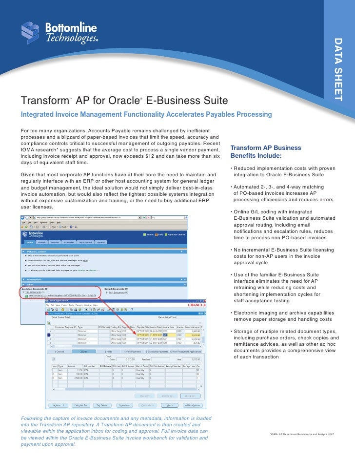 DATA SHEETTransform AP for Oracle E-Business Suite                     TM                             ®Integrated Invoice ...