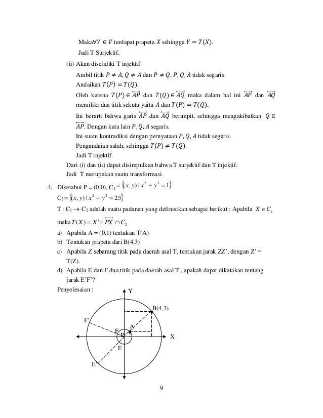 9 Maka∀𝑌 ∈ 𝑉 terdapat prapeta 𝑋 sehingga 𝑌 = 𝑇(𝑋). Jadi T Surjektif. (ii) Akan diselidiki T injektif Ambil titik 𝑃 ≠ 𝐴, 𝑄 ...