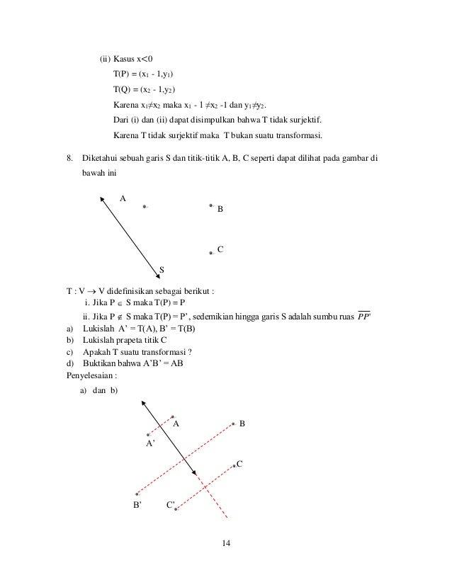 14 (ii) Kasus x<0 T(P) = (x1 - 1,y1) T(Q) = (x2 - 1,y2) Karena x1≠x2 maka x1 - 1 ≠x2 -1 dan y1≠y2. Dari (i) dan (ii) dapat...