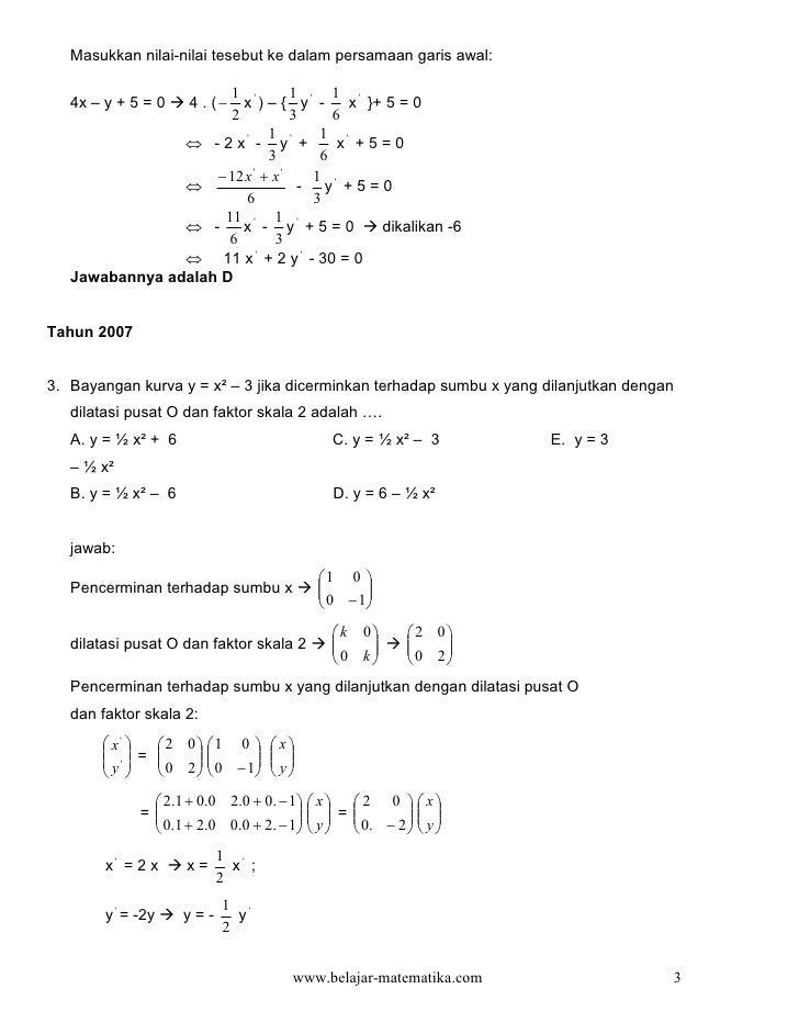 Masukkan nilai-nilai tesebut ke dalam persamaan garis awal:                      1           1     1    4x – y + 5 = 0    ...