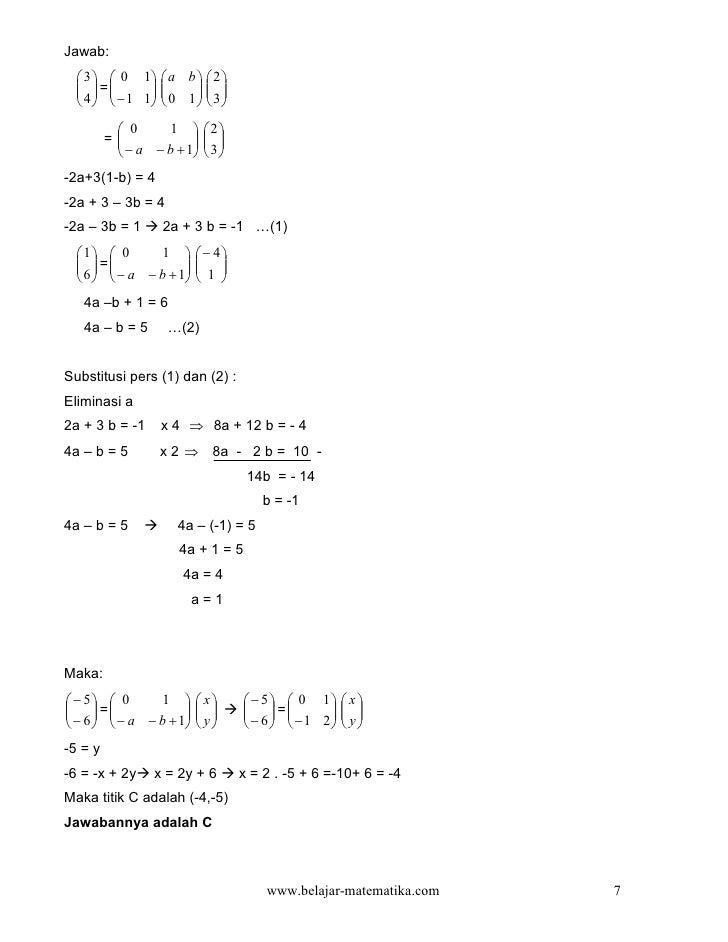 Jawab:   3   0 1  a b   2     =   4   − 1 1  0 1   3                                         ...