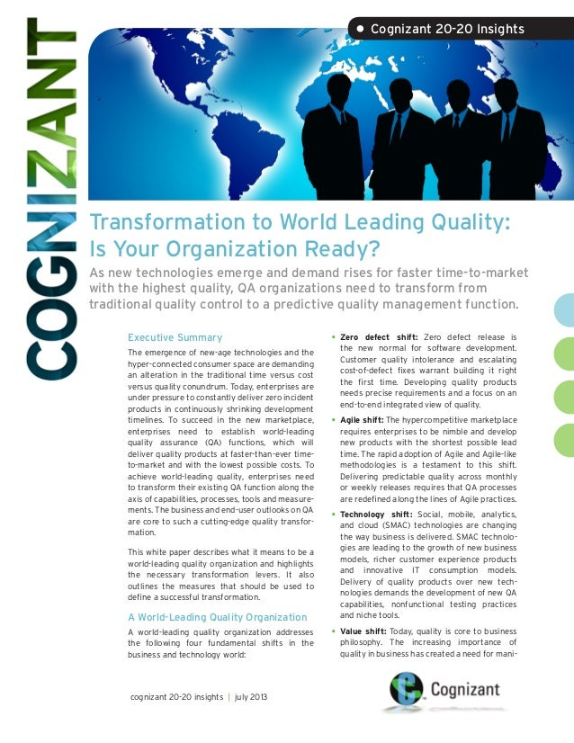 Transformation to World Leading Quality: Is Your Organization Ready? As new technologies emerge and demand rises for faste...