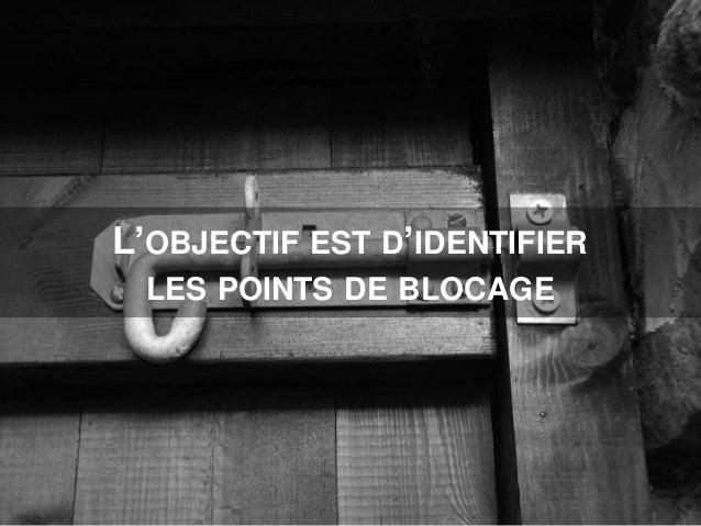 L'OBJECTIF EST D'IDENTIFIER LES POINTS DE BLOCAGE