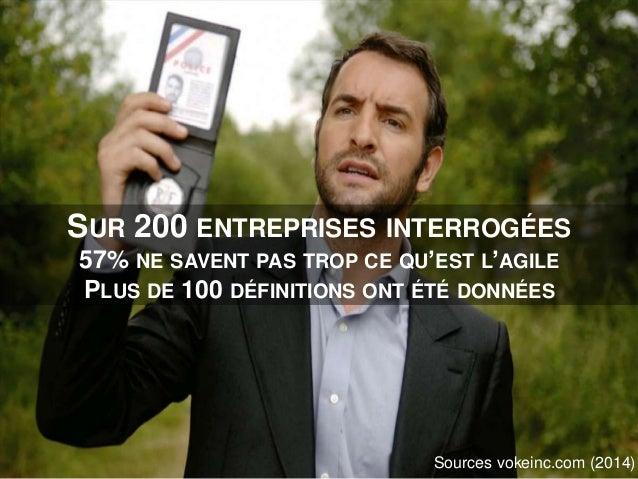 SUR 200 ENTREPRISES INTERROGÉES 57% NE SAVENT PAS TROP CE QU'EST L'AGILE PLUS DE 100 DÉFINITIONS ONT ÉTÉ DONNÉES Sources v...
