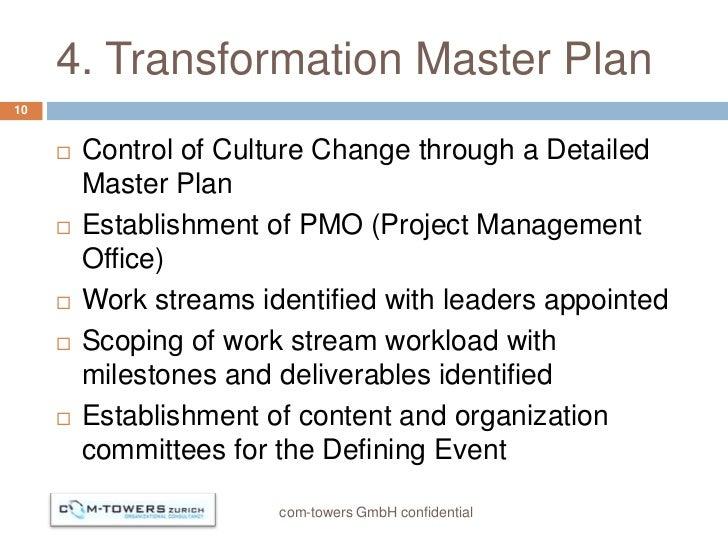4. Transformation Master Plan10        Control of Culture Change through a Detailed         Master Plan        Establish...