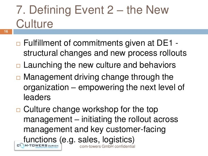 7. Defining Event 2 – the New16     Culture        Fulfillment of commitments given at DE1 -         structural changes a...