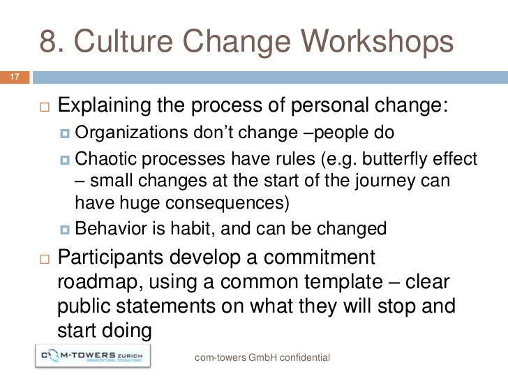 8. Culture Change Workshops17        Explaining the process of personal change:          Organizations don't change –peo...