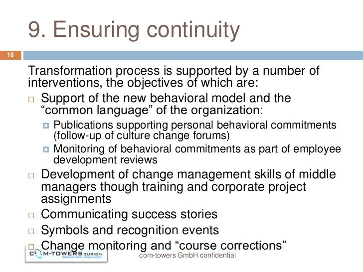 9. Ensuring continuity18     Transformation process is supported by a number of     interventions, the objectives of which...