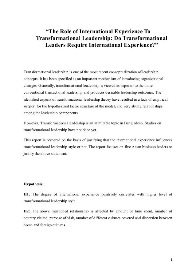 """The Role of International Experience To Transformational Leadership: Do Transformational Leaders Require International Ex..."