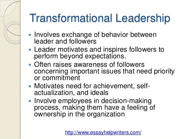 transformational leadership position paper Measuring the impact of leadership style and employee empowerment on perceived organizational reputation by linjuan rita men doctoral student school of communication university of miami  transformational leadership and transactional leadership (bass & avolio, 1997 2000.