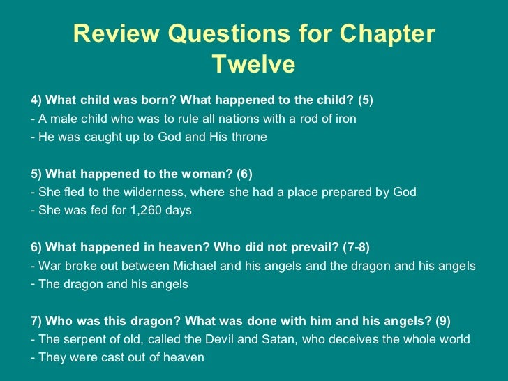 Review Questions for Chapter Twelve <ul><li>4) What child was born? What happened to the child? (5) </li></ul><ul><li>- A ...
