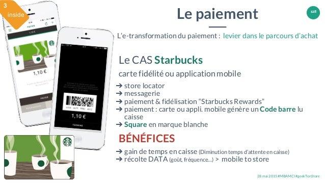 28 mai 2015 #MBAMCI #geekTonStore 128 Le CAS Starbucks carte fidélité ou application mobile ➔ store locator ➔ messagerie ➔...
