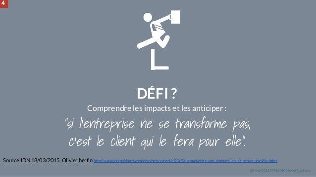 """28 mai 2015 #MBAMCI #geekTonStore DÉFI ? Comprendre les impacts et les anticiper : """"si l'entreprise ne se transforme pas, ..."""