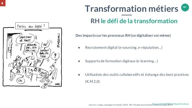 28 mai 2015 #MBAMCI #geekTonStore 152 Des impacts sur les processus RH (se digitaliser soi même) ● Recrutement digital (e-...
