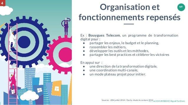 28 mai 2015 #MBAMCI #geekTonStore 158 Ex : Bouygues Telecom, un programme de transformation digital pour : ● partager les ...