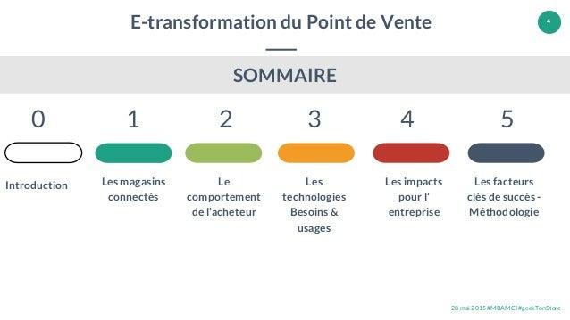28 mai 2015 #MBAMCI #geekTonStore 4 E-transformation du Point de Vente Les magasins connectés 1 2 3 4 5 Le comportement de...