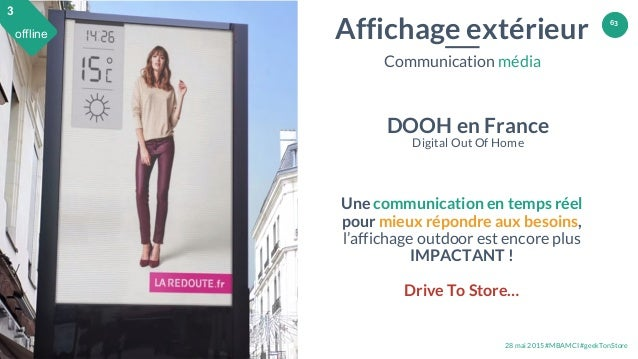 28 mai 2015 #MBAMCI #geekTonStore 63 Affichage extérieur Communication média DOOH en France Digital Out Of Home Une commun...