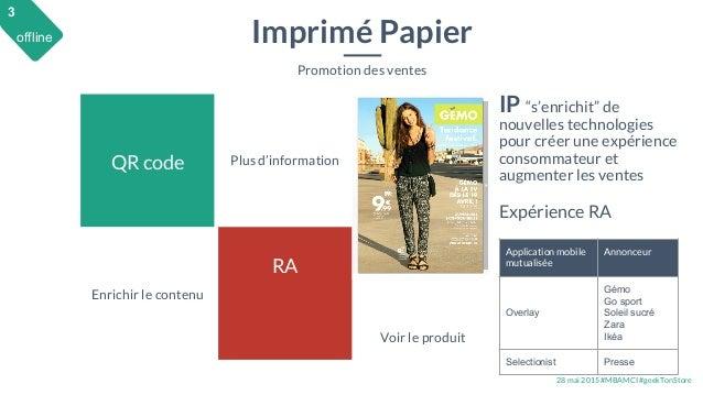 28 mai 2015 #MBAMCI #geekTonStore QR code RA Imprimé Papier Promotion des ventes Plus d'information Enrichir le contenu IP...