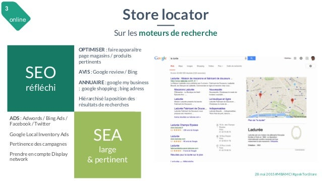 28 mai 2015 #MBAMCI #geekTonStore Store locator Sur les moteurs de recherche ADS : Adwords / Bing Ads / Facebook / Twitter...