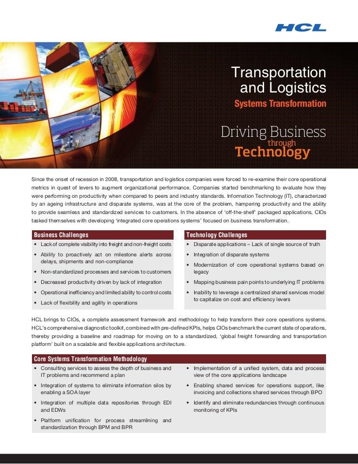 Transportation                                                                                            and Logistics   ...