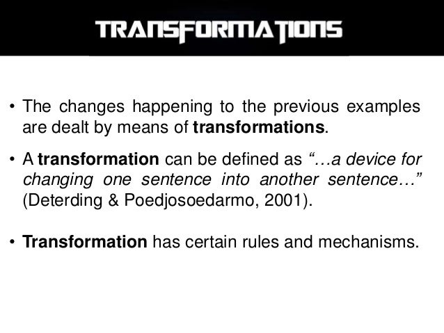 rules of transformation of sentences Rules of transformation of sentences pdf download source code from: http:wwwsapphiresteelcomthe-little-book-of-ruby you may freely copy and distribute this ebook as long as.