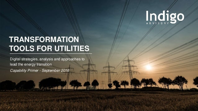 TRANSFORMATION TOOLS FOR UTILITIES Digital strategies, analysis and approaches to lead the energy transition Capability Pr...