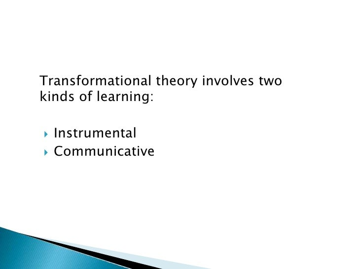 Adult learner learning transformational