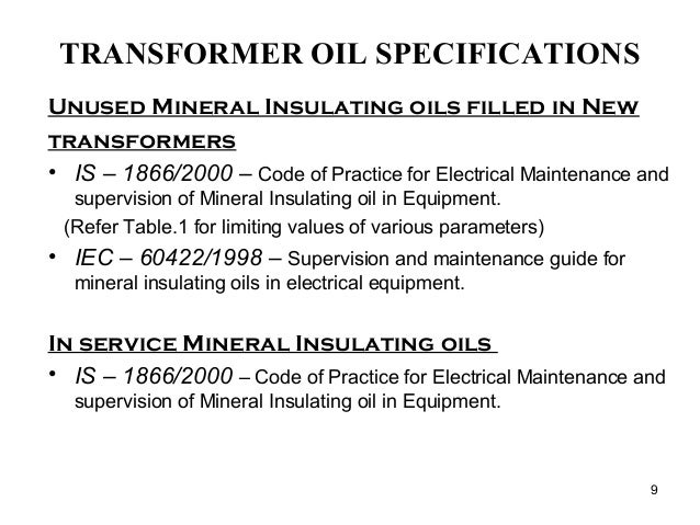 Transformer oil-specifications new
