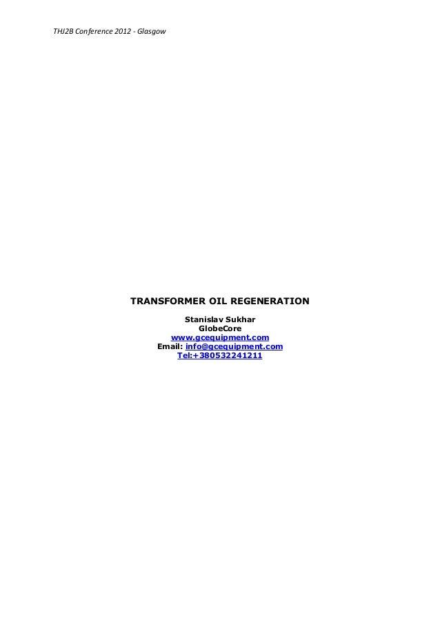 Transformer oil regeneration