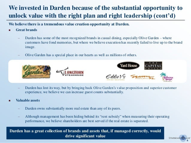 Transforming darden the starboard value paper on olive garden etc for Who owns olive garden
