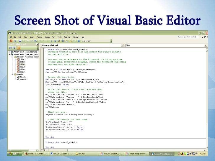 visual basic editor