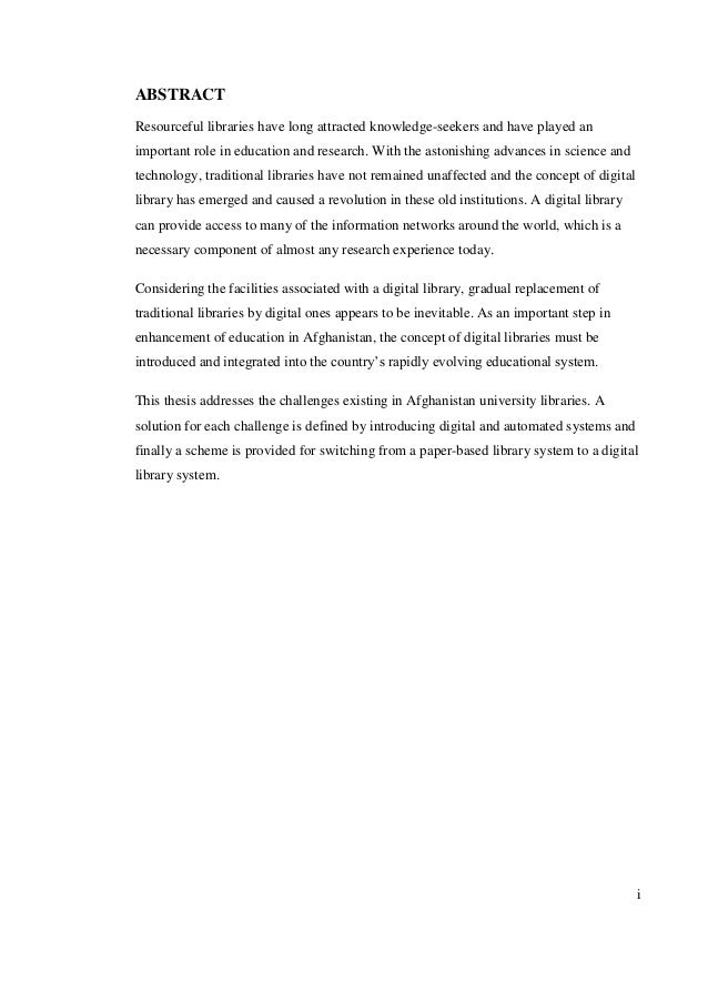 Library System Thesis Essay Sample