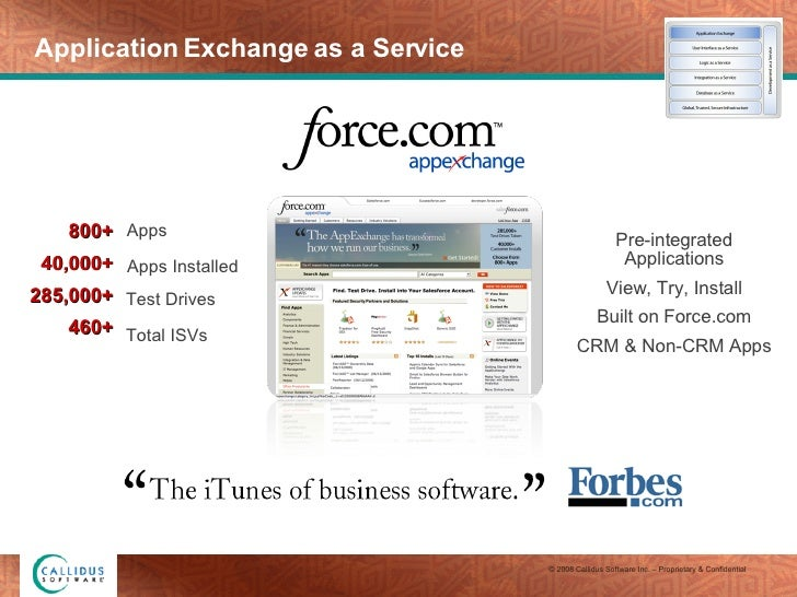 Application Exchange as a Service Pre-integrated Applications View, Try, Install Built on Force.com CRM & Non-CRM Apps 800...