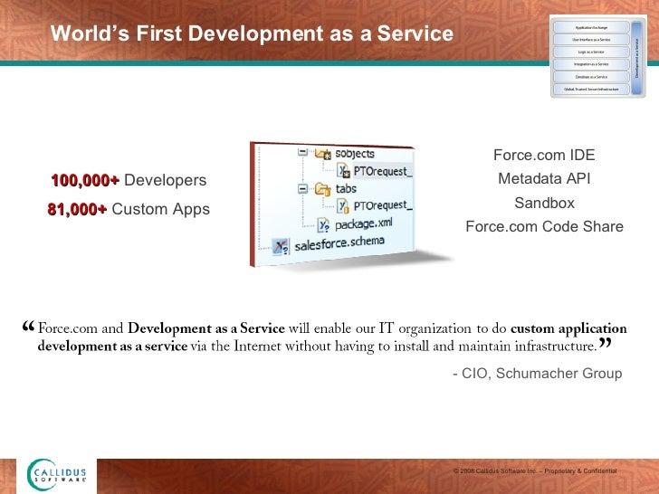World's First Development as a Service 100,000+  Developers 81,000+  Custom Apps Force.com IDE Metadata API Sandbox Force....