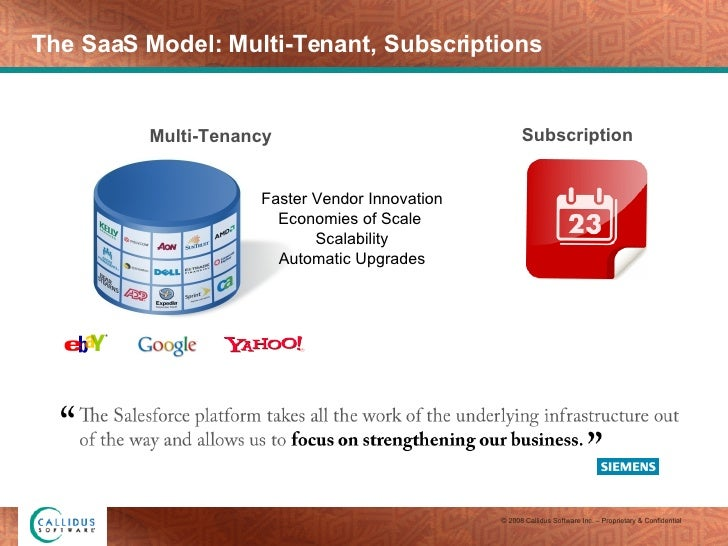 The SaaS Model: Multi-Tenant, Subscriptions Subscription Faster Vendor Innovation Economies of Scale  Scalability Automati...