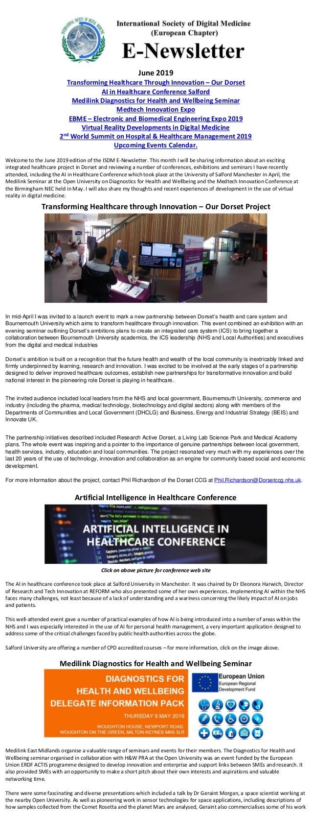 June 2019 Transforming Healthcare Through Innovation – Our Dorset AI in Healthcare Conference Salford Medilink Diagnostics...