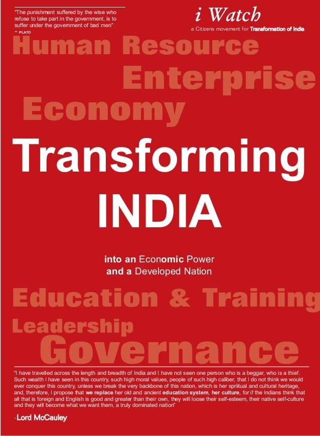 Human Resource Education & Training Leadership Transforming INDIA into an Economic Power and a Developed Nation Governance...