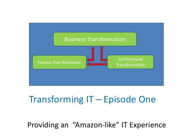 "Transforming IT – Episode One Providing an ""Amazon-like"" IT Experience Business Transformation Architectural Transformatio..."