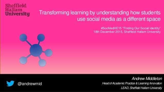 Transforming learning by understanding how students use social media as a different space Andrew Middleton Head ofAcademic...