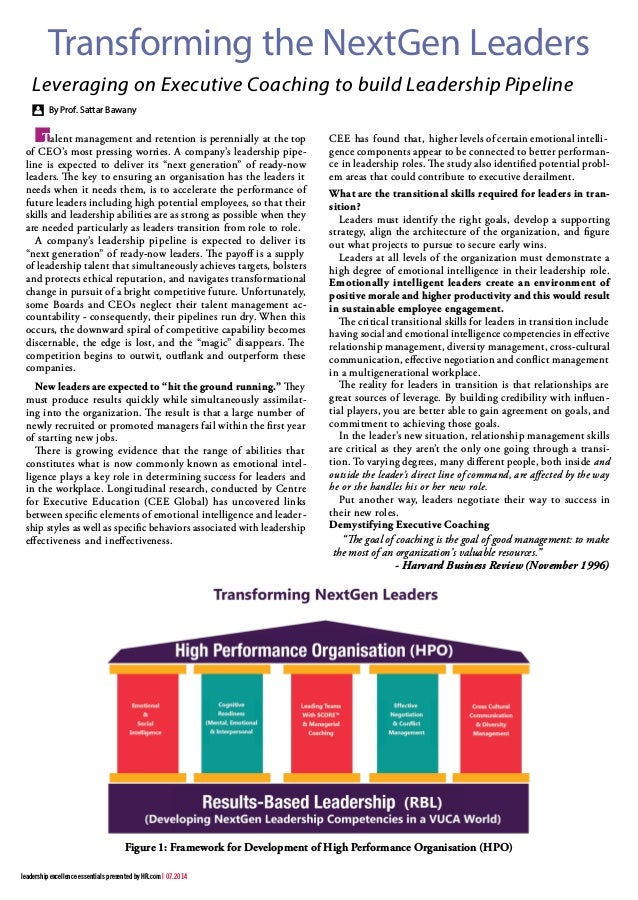 Figure 1: Framework for Development of High Performance Organisation (HPO) By Prof. Sattar Bawany Leveraging on Executive ...