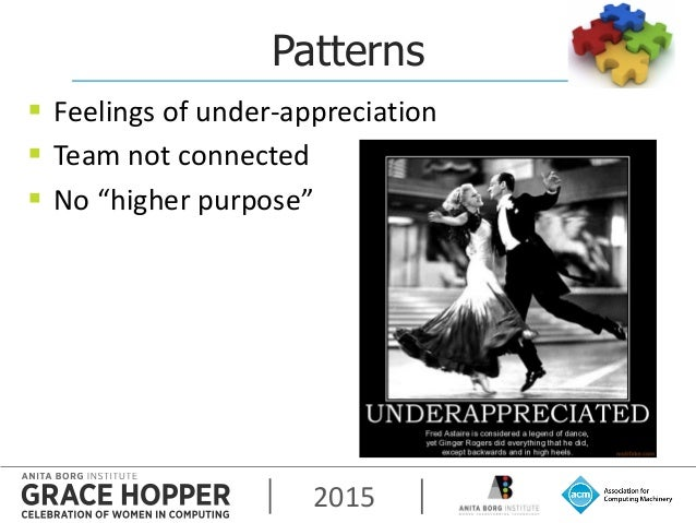 """2015 Patterns  Feelings of under-appreciation  Team not connected  No """"higher purpose"""""""