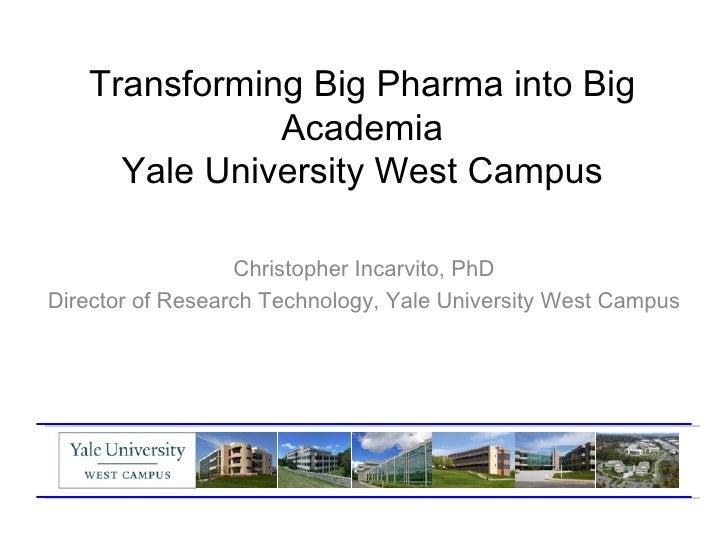 Transforming Big Pharma into Big              Academia     Yale University West Campus                  Christopher Incarv...