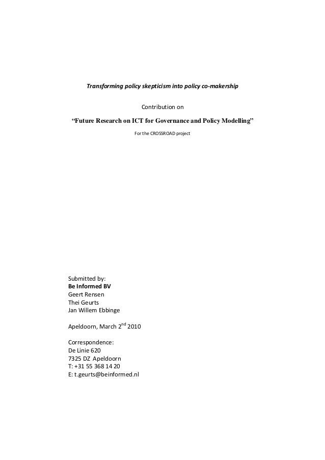 "Transforming policy skepticism into policy co‐makership  Contribution on   ""Future Research on ICT for Governance and Poli..."