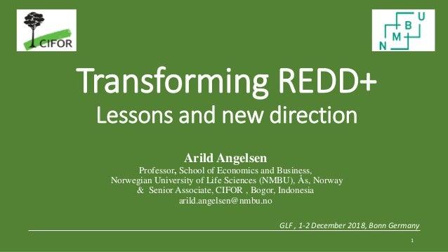 Transforming REDD+ Lessons and new direction GLF , 1-2 December 2018, Bonn Germany 1 Arild Angelsen Professor, School of E...