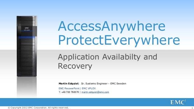 1© Copyright 2012 EMC Corporation. All rights reserved.AccessAnywhereProtectEverywhereApplication Availabilty andRecoveryM...