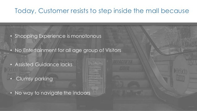 Today, Customer resists to step inside the mall because • Shopping Experience is monotonous • No Entertainment for all age...