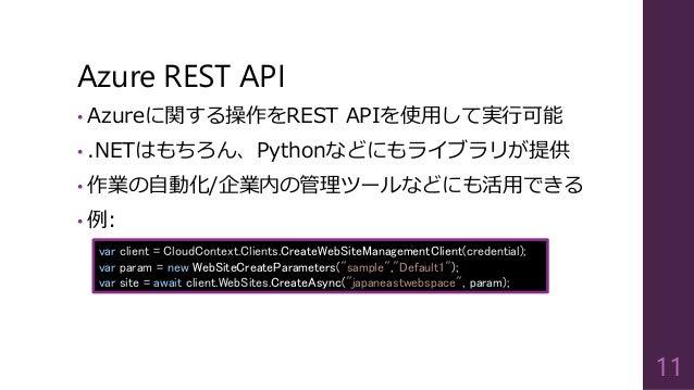 Azure REST API  •Azureに関する操作をREST APIを使用して実行可能  •.NETはもちろん、Pythonなどにもライブラリが提供  •作業の自動化/企業内の管理ツールなどにも活用できる  •例:  11  varcli...