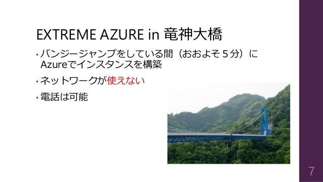 EXTREME AZURE in 竜神大橋  •バンジージャンプをしている間(おおよそ5分)に Azureでインスタンスを構築  •ネットワークが使えない  •電話は可能  7