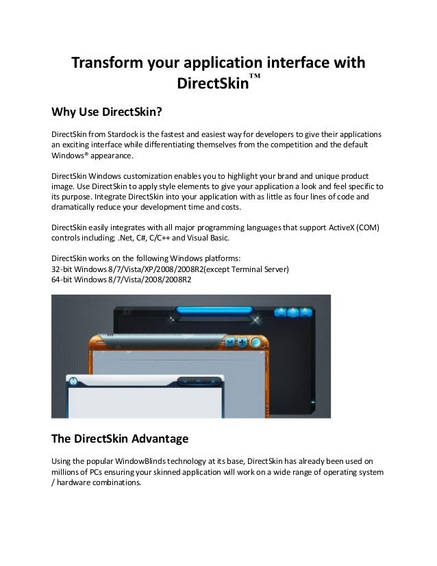 Transform your application interface with direct skin
