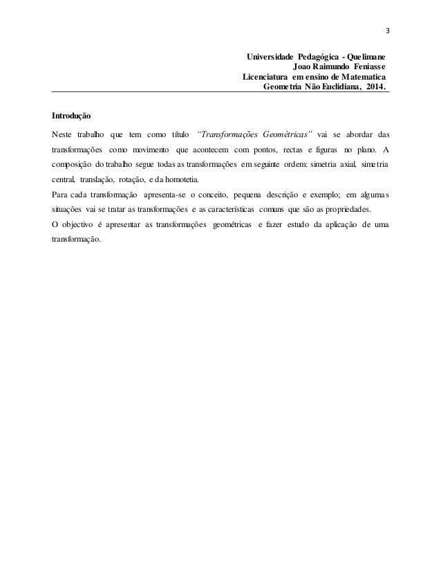 3 Universidade Pedagógica - Quelimane Joao Raimundo Feniasse Licenciatura em ensino de Matematica Geometria Não Euclidiana...